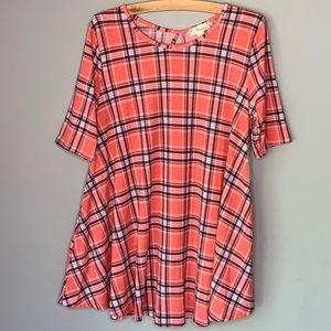 Misia tunic fit and flare plaid top large NWT